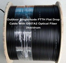Outdoor Singlemode FTTH Flat Drop Cable With G657A2 Optical Fiber 2km/