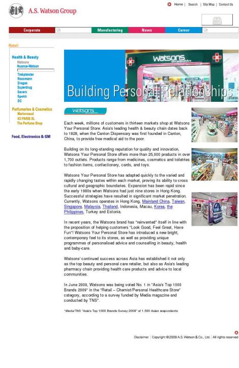 WATSONS PERSONAL CARE STORES (PHILIPPINES) •