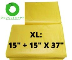 "XL Biodegradable Yellow Trash Bag (15"" + 15"" x 37"")"