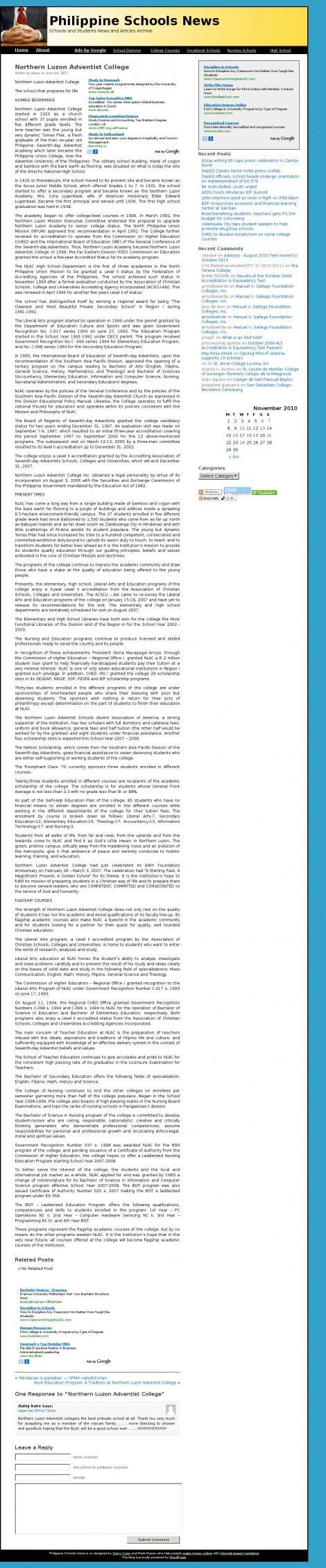 Northern Luzon Adventist Schools Alumni Association Of The