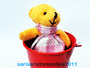 Cute Bear in Pail for Christening and Birthday Souvenir