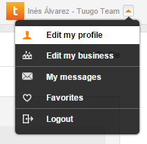 User profile - dropdown menu
